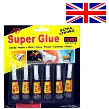 6 x Extra Strong Super Glue High Quality for Glass Plastic Leather Paper Rubber