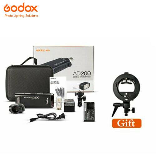 Godox AD200 TTL HSS 2.4G 1/8000 Double Head Flash+Free S-BW bracket