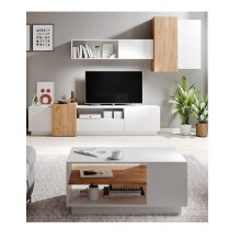 Living Room Furniture Set With Coffee Table In White & Oak