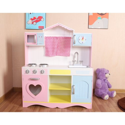 Large Girls Kids Pink Wooden Play Kitchen Childrens Role Play Pretend Set Toy