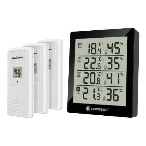 Bresser Temperature Station Weather Station Temeo Quadro Thermometer/Hygrometer