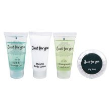 JUST FOR YOU 4 PIECE TOILETRIES WELCOME PACK TRAVEL GUEST SIZE SET X1