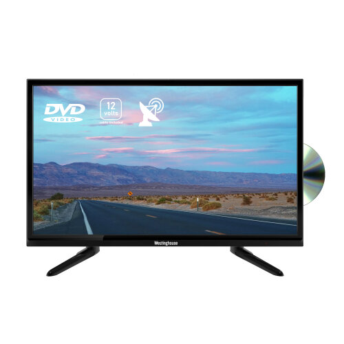 """Westinghouse 24"""" Inch LED 720p HD Ready 12V TV with DVD Player and 12v Adapter"""