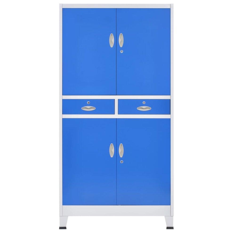 vidaXL Office Cabinet with 2 Doors Steel 90x40x180cm Grey File Storage Unit