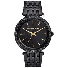 Michael Kors Ladies Womens Darci Watch Black Bracelet Gold Hands MK3337