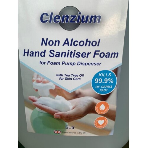 Hand Sanitiser Foam. Non Alcohol. Kills 99.9% Germs 5 litre