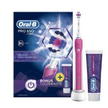 Oral-B Pro 650 Pink 3D Action Electric Toothbrush | Includes Pink Toothpaste