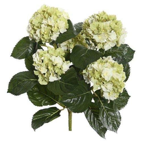 Vickerman FL171505 Light Green Hydrangea X5 Floral Bush - 17.5 in.