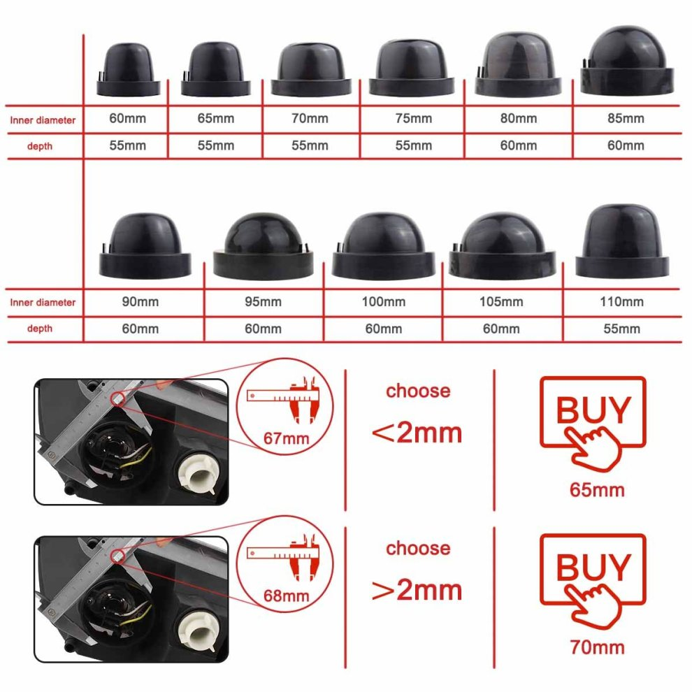 TOMALL 85mm 3.35inch Rubber Seal Dustproof Covers for LED Headlight Conversion Kit