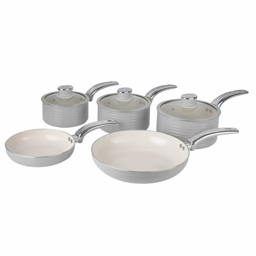Swan Grey Retro Non-Stick 5pce Pan Set, 3 Saucepans 16/18/20cm, 2 Frying Pans 20/28cm with Tempered Glass Lids & Compatible with Induction Hobs
