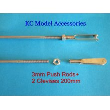 3mm Push Rods/Control Rods 200mm + 2 Clevies Stainless Steel