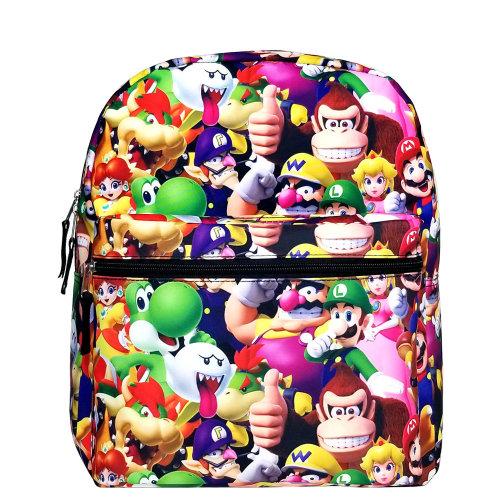 "Medium Backpack - Super Mario Bros - All-Over Print 14"" New NN43899"