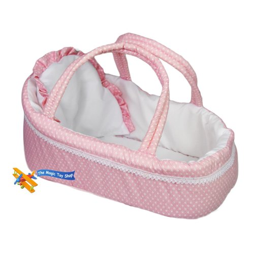 The Magic Toy Shop Pink Baby Dolls Carry Cot Bed with Pillow Carry Handles Sleeping Bag Carrier