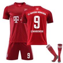 Lewandowski #9 Jersey Home 21/22 New Season Fc Bayern Munich Soccer T-shirts Jersey Set For Kids Youths