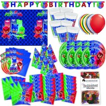 PJ Masks Party Set XL 73-piece for 6 guests PJ Masksparty Birthday Decoration Party Package Size