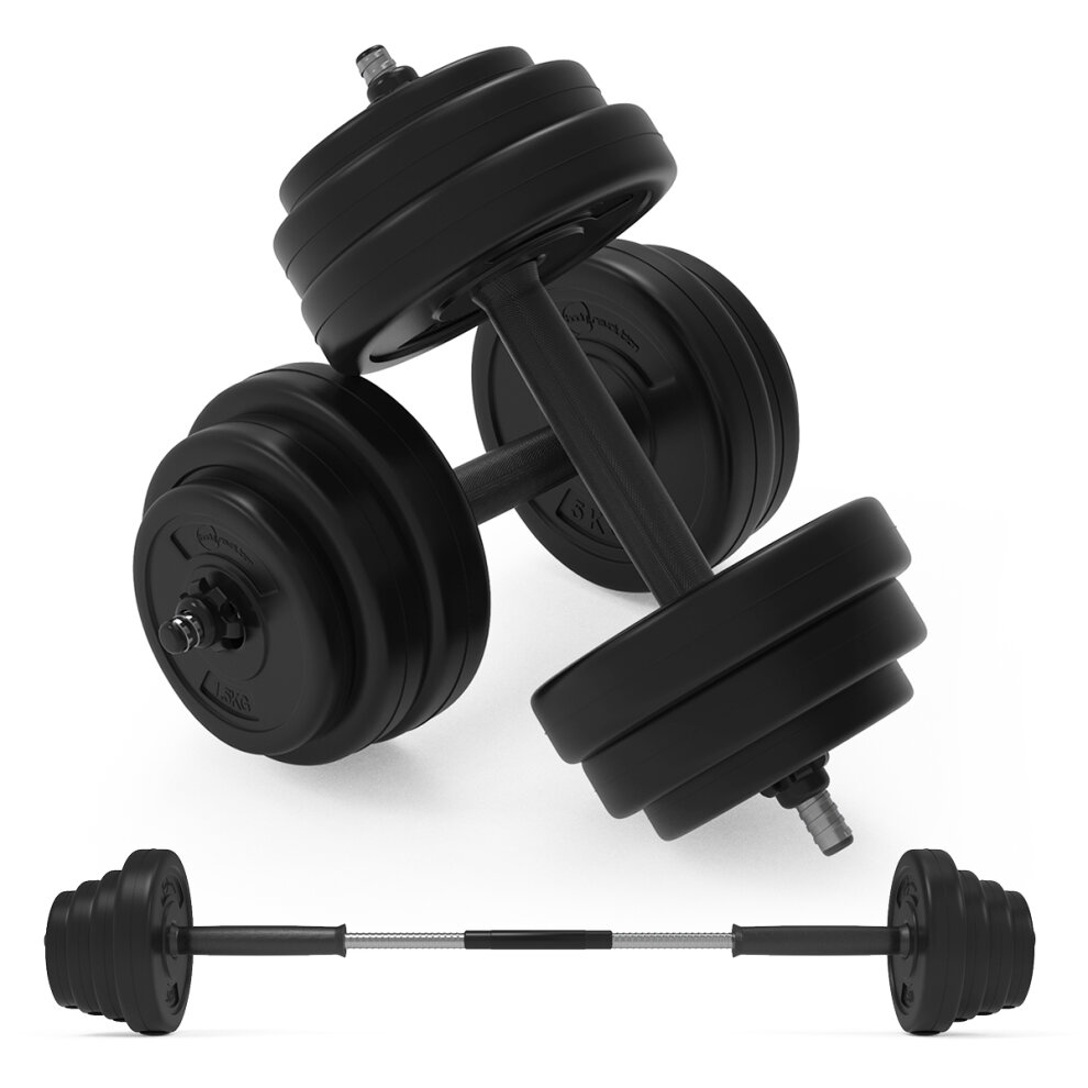Weight Set 20kg Cast Iron Adjustable Dumbbell Barbell Set 4 x 1.25kg 4 x 1.5kg 4 x 2kg Weight Plates with Connection Bars 4 x Star Collars Weight Lifting Fitness Training Alloy Steel