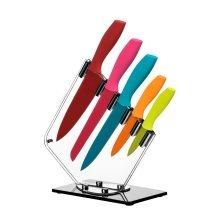 5Pc Knife Set With Acrylic Block, Multi-coloured
