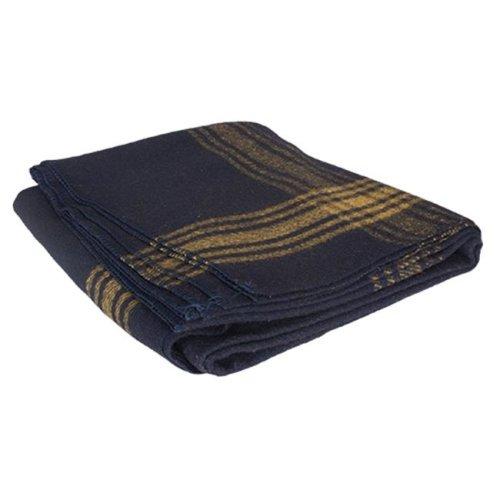 62 x 80 in. Mustard-Striped Navy Wool Blanket