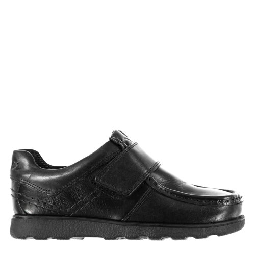 Kangol Kids Waltham Boys Hook and Loop Leather Shoes Padded Ankle Collar Slip On