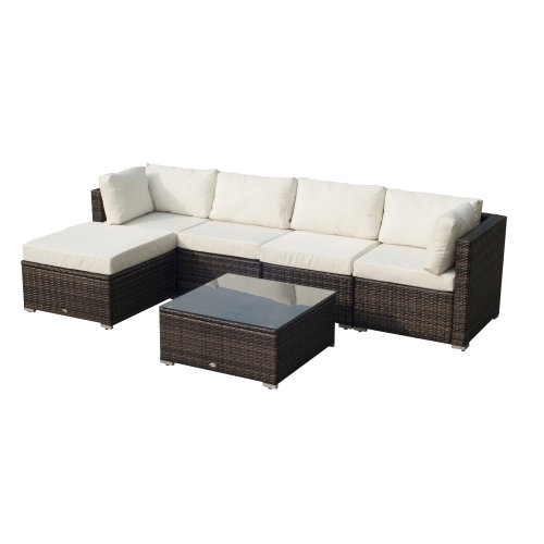 Outsunny 6 Pieces Rattan Furniture Set Garden Sofa Conservatory Wicker Brown