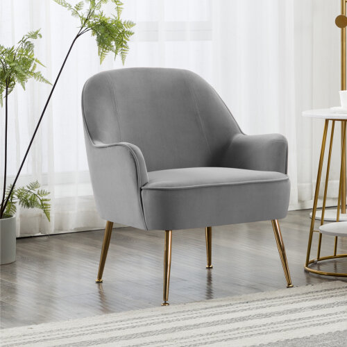 Occasional Velvet Armchair Upholstered Lounge Tub Chair with Solid Legs