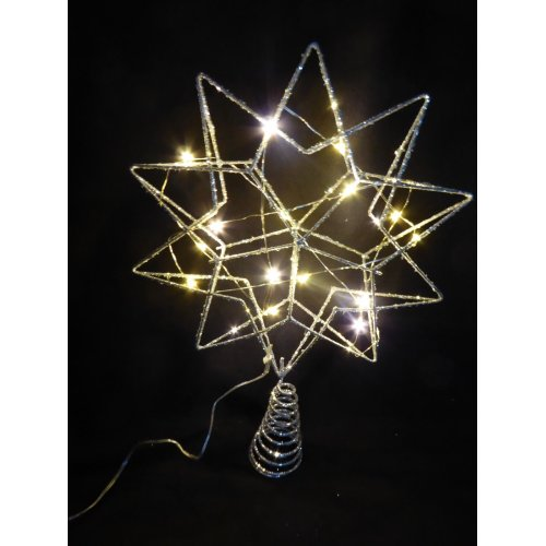 UK-Gardens  35cm Large Silver Christmas Tree Star With LED Lights Tree Topper Battery Operated
