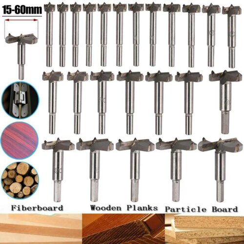 15 to 60mm Forstner Hinge Boring Drill Bit Woodworking Hole Saw Cutter Drill Bit