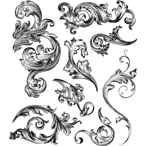 """Tim Holtz Cling Stamps 7""""X8.5""""-Scrollwork"""