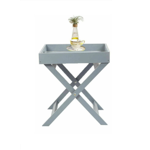 Grey Wooden Butler Serving Tray & Stand   Folding Table Table