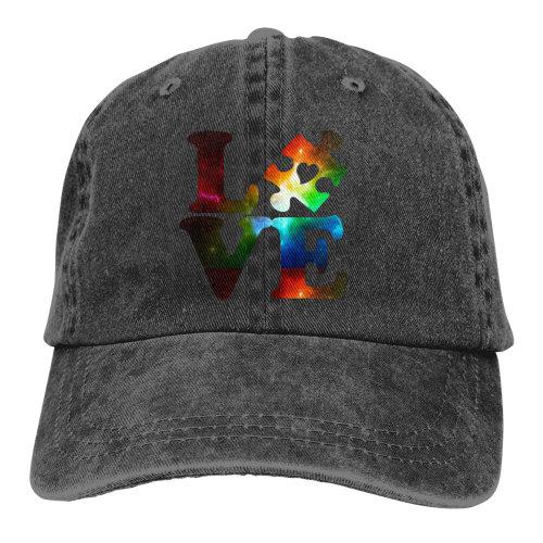 Galaxy Love Autism Awareness Denim Baseball Caps
