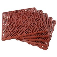 5Pc Garden Interlocking Tiles Waterproof Floor Path Patio Decking Grid Non Slip Terracotta