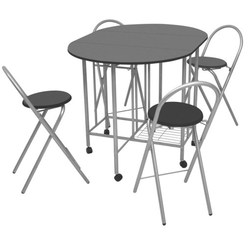 vidaXL Folding Dining Set 5 Pieces MDF Black Table and Chair Kitchen Furniture