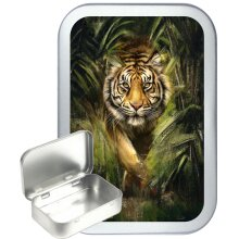 Tiger Jungle 50ml Silver Hinged Tobacco Tin, Gift Tin