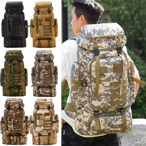 80L Outdoor Military Hiking Backpack Camping Bag