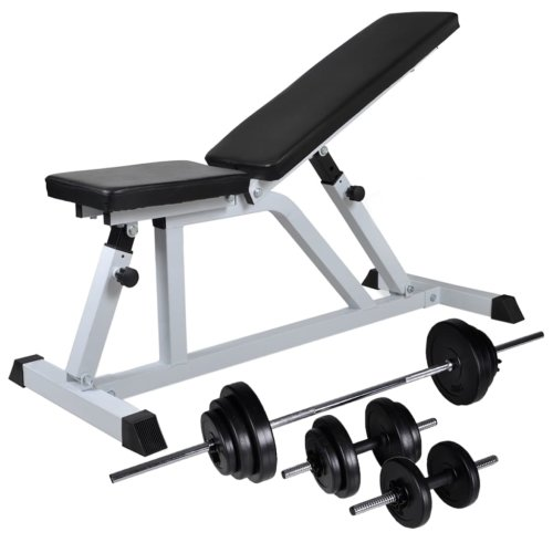 vidaXL Workout Bench with Barbell and Dumbbell Set 30.5kg Fitness Equipment