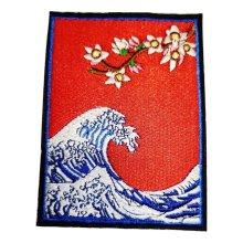 The Great Wave Sea Embroidered Cloth Iron On Patch