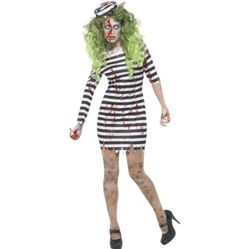 Jailbird Convict Costume Hat Ladies Prisoner Uniform Womens Fancy Dress Outfit