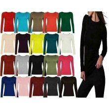 Ladies Plain Long Sleeve Round Neck Shirt Top