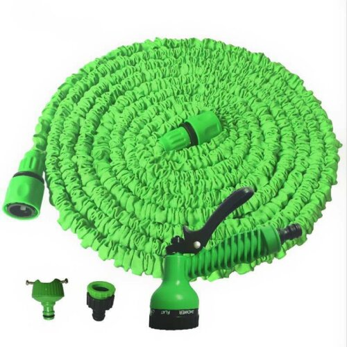 (Green, 50FT) 150FT Heavy Duty Expandable Garden & Carwash Magic Hose Pipe Spray Gun