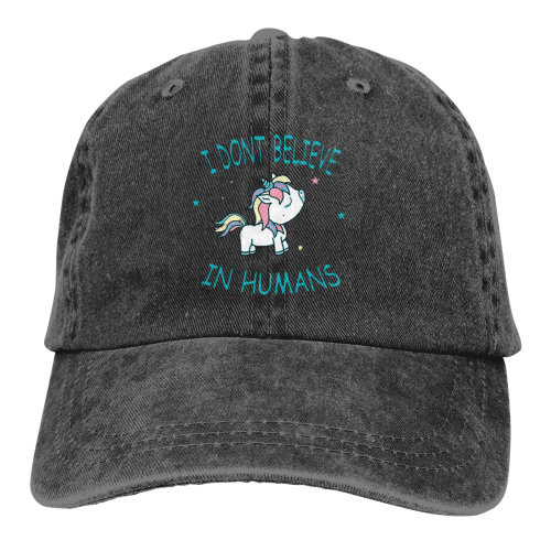 Unicorn Don't Believe Humans Denim Baseball Caps