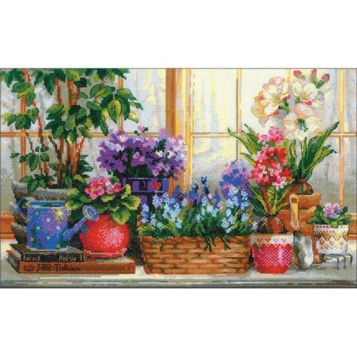 Riolis R1669 15.75 x 9.75 in. Windowsill with Flowers Counted Cross Stitch Kit - 14 Count