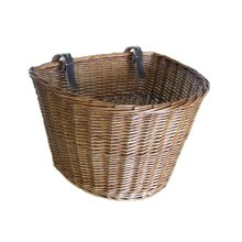 Retro, Handmade, Wicker Bicycle Front Basket with Brown Straps