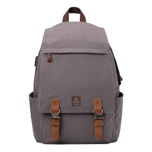 Canvas Laptop Backpack, Fits 15.6 inch Tablet  and Laptop,  Build in USB to USB cable, Troop London TRP0423A