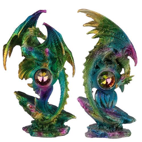 Crystal Geode Metallic Rainbow Dragon Figurine