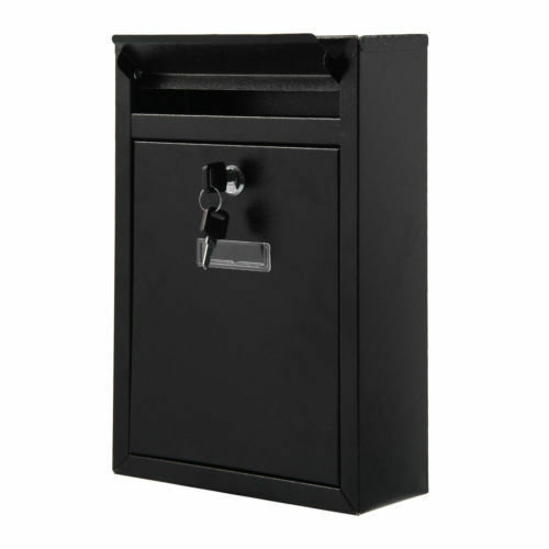 Lockable Black Steel Wall Mounted Postbox