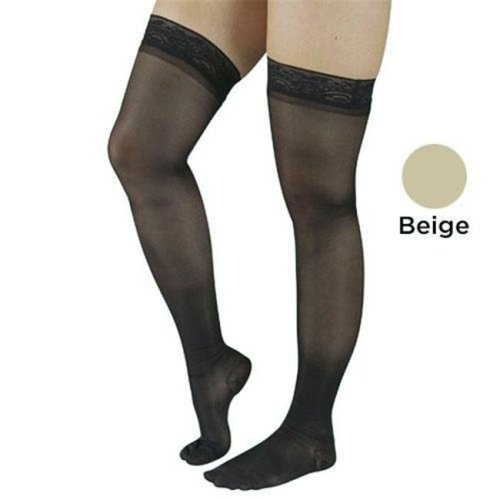 Blue Jay BJ381BLS 20-30 mmHg Stay Up Top Count Firm Surgical Weight Stockings Thigh High, Beige - Small