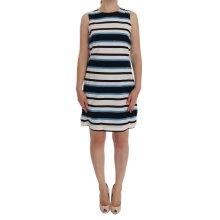 Blue White Striped Silk Stretch Shift Dress