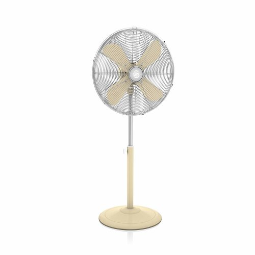 Swan Cream Retro 16 Inch 50W Pedestal Stand Oscillating Fan with 3 Speed Settings & Low Noise Levels