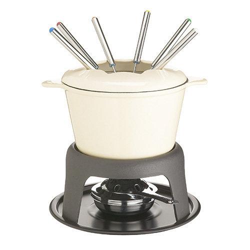 MasterClass Cast Iron Enamelled Cream Fondue Set