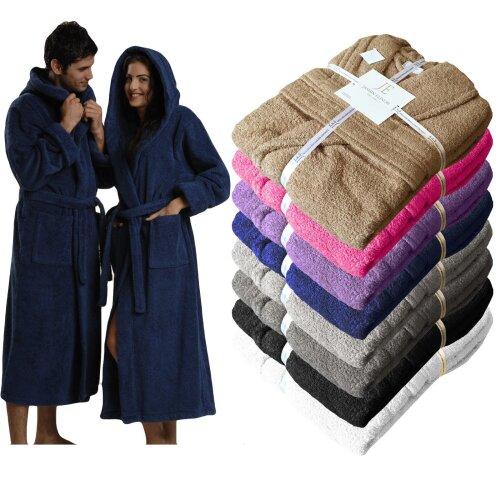 Egyptian Cotton Shawl Collar Hooded Bathrobe